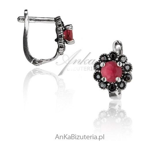 b37281d9cb6606 Kolczyki srebrne markizy . Biżuteria z rubinem i markazytami  ankabizuteria-pl bialy srebrna