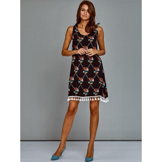 166aa1dd61 Bawełniana sukienka letnia trapezowa ze wzorem granatowa Papilion XL  Papilion.pl ...