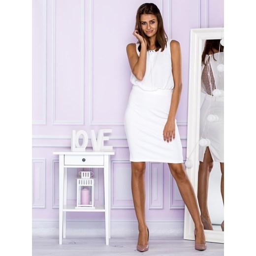 63fef06f0e Sukienka koktajlowa z biżuteryjnym dekoltem biała Papilion M Papilion.pl ...
