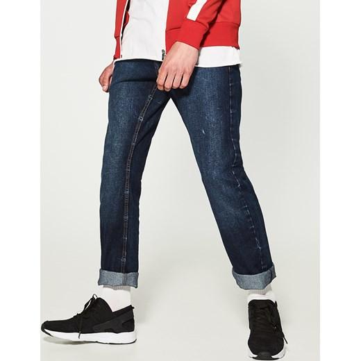 House jeansy regular classic granatowy czerwony House jeansy