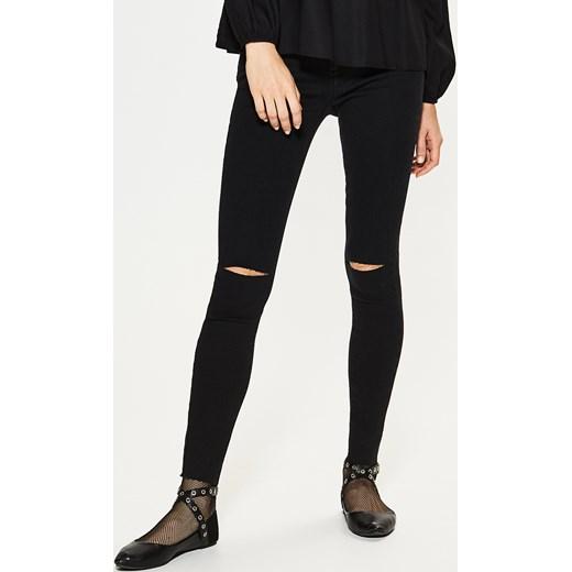 House jeansy slim fit z p kni ciem na kolanach czarny House jeansy