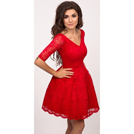 f8bf9e917d EMMA - Rozkloszowana koronkowa sukienka czerwona Sukienkowo czerwony ...