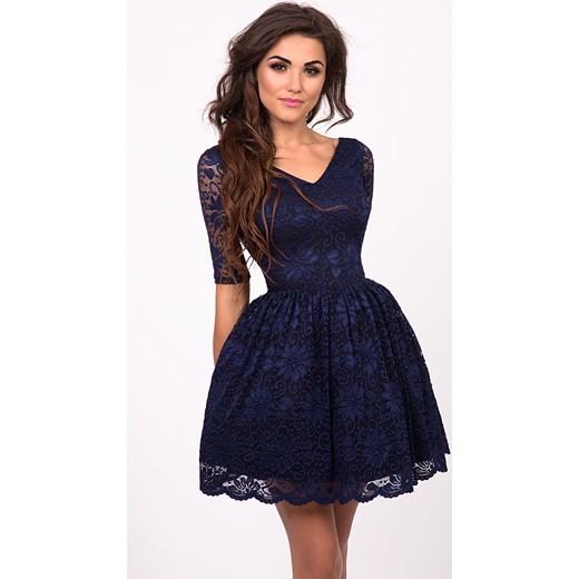 c9db60c5ee EMMA - Rozkloszowana koronkowa sukienka Granatowa czarny Sukienkowo ...