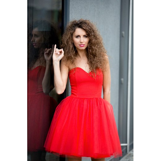 35b4ce9f13 COCO - Sukienka gorsetowa tiulowa warstwowa czerwona czerwony Sukienkowo 38