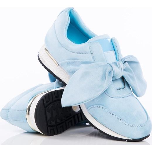 8cc4c754 Niebieskie buty sportowe z ozdobną kokardką na sprężystej podeszwie ze złotą  wstawką pięcie Papilion mietowy Papilion.pl w Domodi