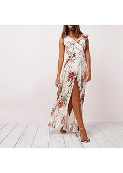 Cream floral print frill wrap maxi dress  River Island rozowy  - kod rabatowy