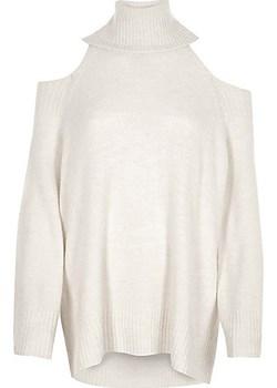 Cream cold shoulder roll neck jumper  bezowy River Island  - kod rabatowy