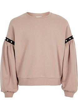 Girls pink puff sleeve sweatshirt  River Island bezowy  - kod rabatowy