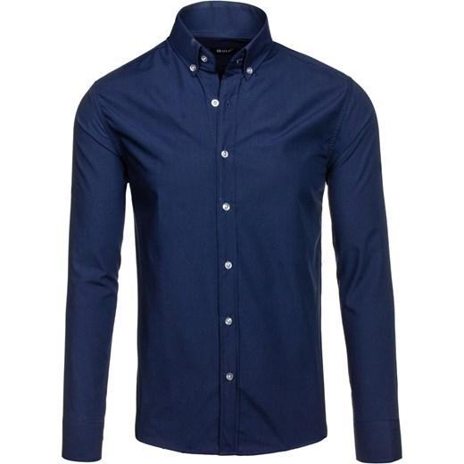 45c0fc529f08 ... Granatowa koszula męska elegancka z długim rękawem Bolf 6942 Bolf L  okazja Denley.pl ...