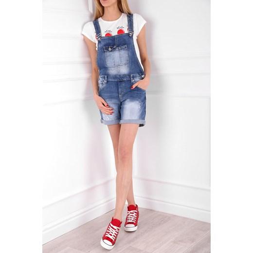 410e4ec08a9e97 Spodenki jeansowe ogrodniczki GARDEN MINI niebieskie rozowy MODOLINE ...