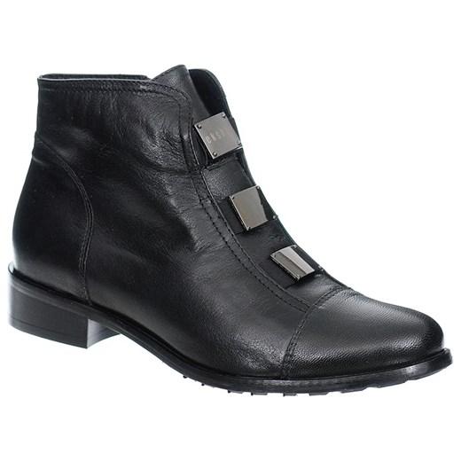 CZARNE KLASYCZNE BOTKI SKÓRZANE czarny Eksbut Family Shoes w