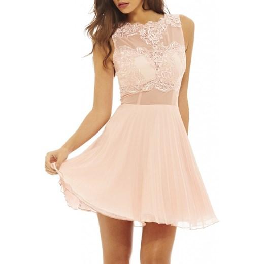 a239fa74bf Różowa plisowana rozkloszowana sukienka na wesele z siateczką bezowy XL  stylovesukienki