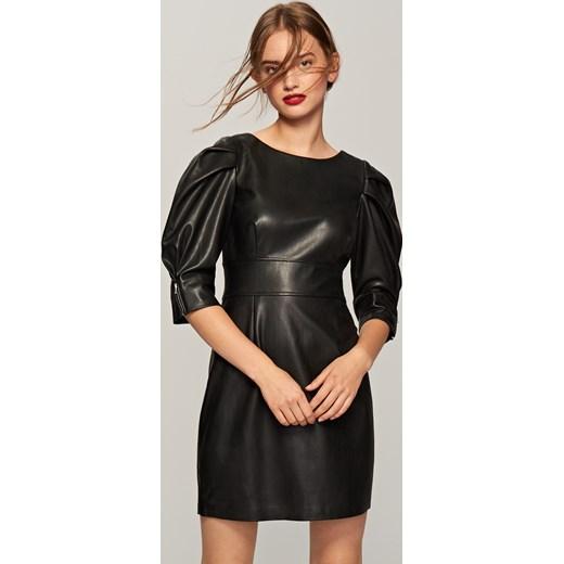 a6f3928856 Reserved - Sukienka z eko skóry Czarny szary w Domodi