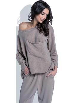 Sweter z wełny Fobya F403 Vein szary  - kod rabatowy