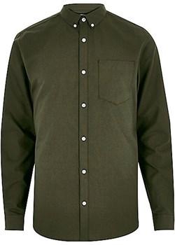 Khaki green long sleeve Oxford shirt  River Island szary  - kod rabatowy