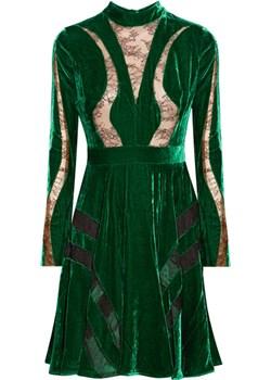 Lace-paneled crushed-velvet dress   NET-A-PORTER - kod rabatowy