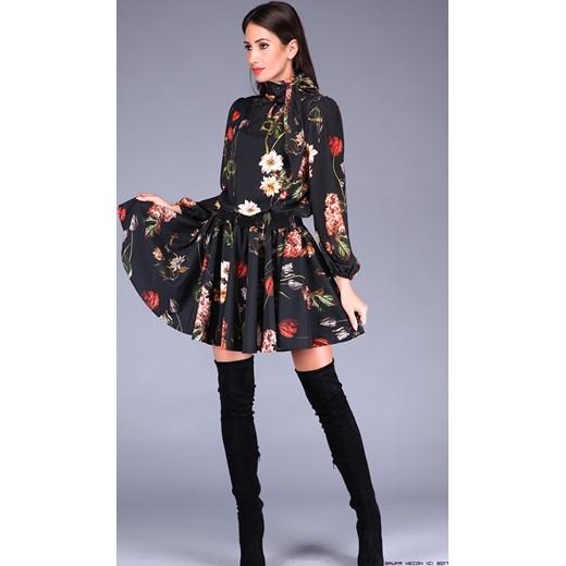 6f9442eb0c7364 polscy producenci ** wiązana pod szyję sukienka w kwiaty LUXURYONLINE w  Domodi