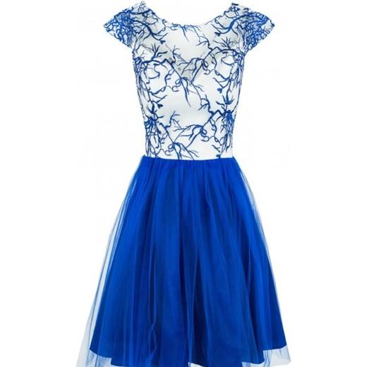 a641b5fddf Sukienka tiulowa z haftowaną koronką niebieska Monnom Boutique niebieski L  okazja showroom.pl