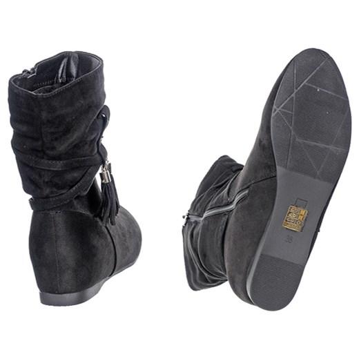 OCIEPLANE BOTKI KOTURN Family Shoes Buty Damskie SA czarny
