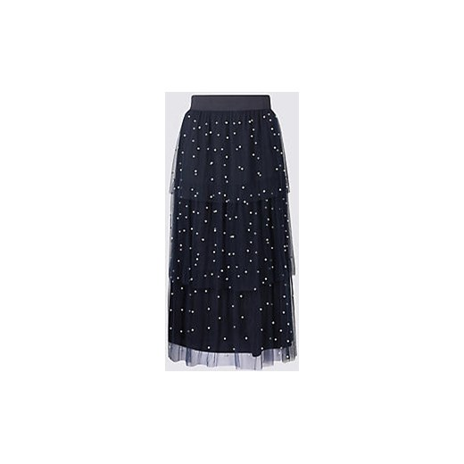 6a60b70305 Tiered Mesh Pearl A-Line Midi Skirt Marks & Spencer Marks&Spencer w ...