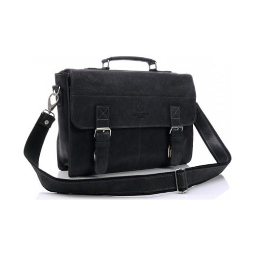 c3c83c3f43289 Męska skórzana torba na ramię A4 vintage czarna czarny Vera Pelle  stylowagalanteria.com