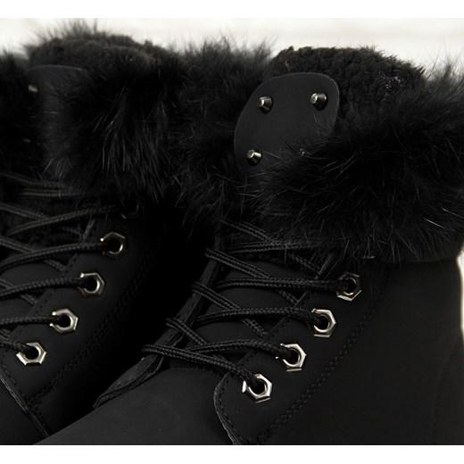 trapery damskie zimowe ocieplane z futerkiem czarne w