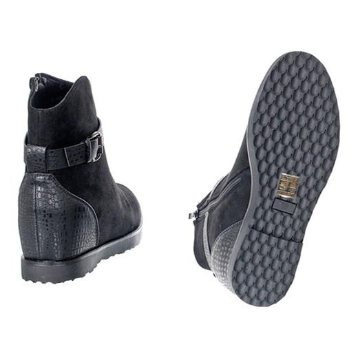 4fd7b0bb OCIEPLANE BOTKI NA KOTURNIE szary Family Shoes w Domodi