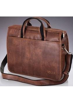 SOLIER S13 nowoczesna jasnobrązowa męska torba na ramię, torba na laptop skorzana-com brazowy miękkie - kod rabatowy