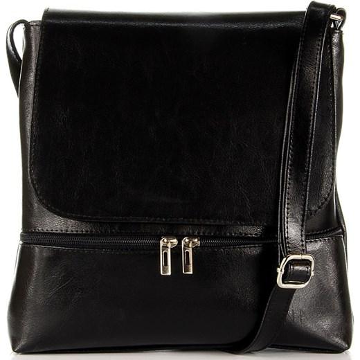 fc56c34a01099 DAN-A T289 czarna torebka damska listonoszka ze skóry naturalnej skorzana-com  czarny casual