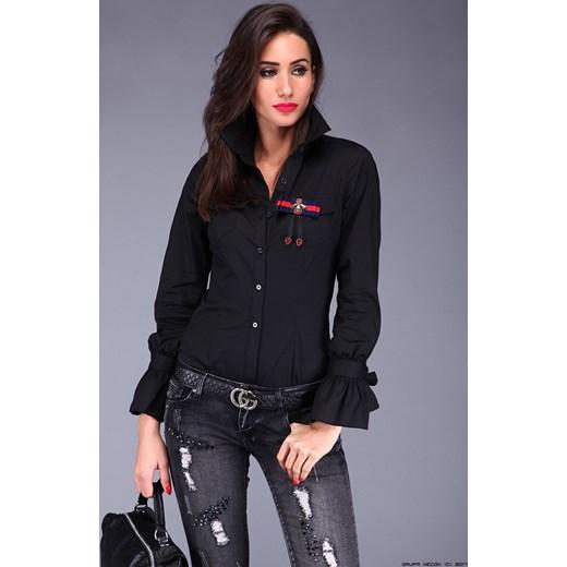 e312e9866b koszula damska freesia    czarna koszula+kieszenie + zdobienia - klasa!  czarny LUXURYONLINE