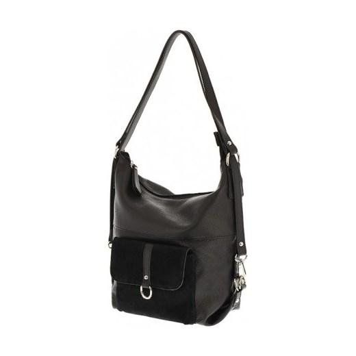 0b092dc9d6737 Włoska skórzana torebka worek plecak 2 w 1 czarna bialy Vera Pelle  stylowagalanteria.com