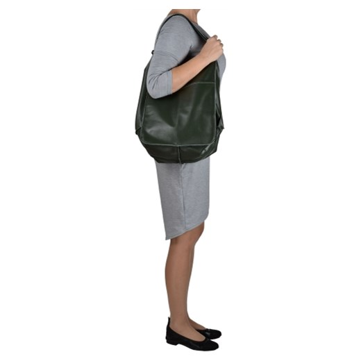 db2a634d493e9 ... Zielona torebka worek z miękkiej skóry bardzo lekka xl Vera Pelle  melon.pl
