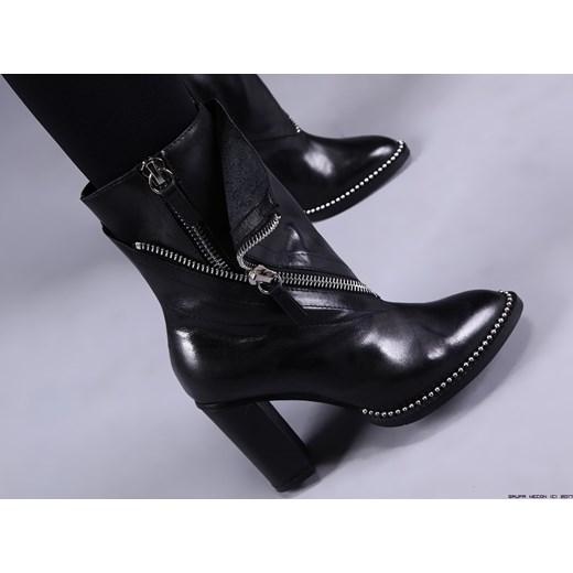 97f66c60225ad3 buty made in italy ** premium botki 100% skóra+ srebrne zamki 10cm czarny  40 ...