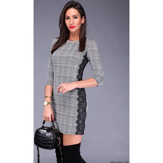 807189d244 sukienka copine paris    sukienka dzianinowa w kratkę+ koronka Copine Paris  S LUXURYONLINE ...