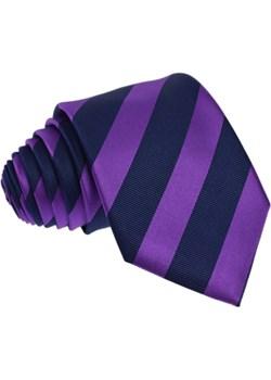 Krawat jedwabny w pasy Republic Of Ties granatowy  - kod rabatowy