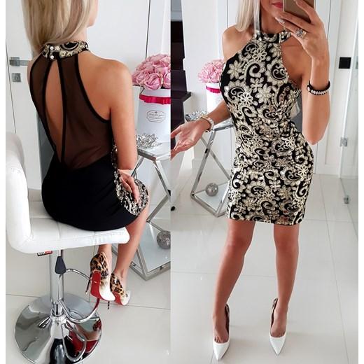 Elegancka Sukienka Z Ote Dodatki Iwette Butik
