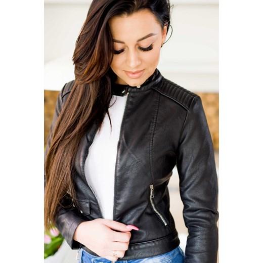 b2b4144bf4190 Z876 Czarna damska kurtka skórzana ze stójką moto biker rozmiar xs s m l xl  Woman Top Fashion ...