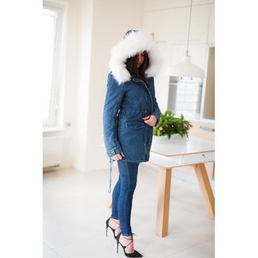 0610ca1584bf0 ... Z826 Zimowa kurtka damska jeansowa parka z futrem rozmiar xs s m l  Woman Top Fashion bialy M ...
