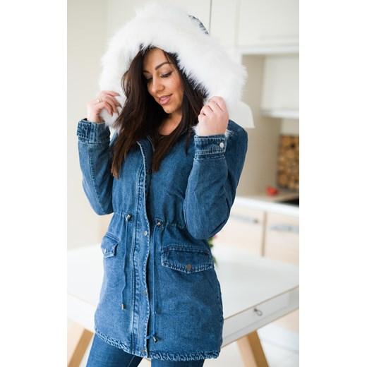 df939109a36a9 Z826 Zimowa kurtka damska jeansowa parka z futrem rozmiar xs s m l Woman  Top Fashion niebieski XS ...