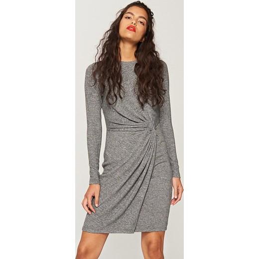 73ce073d41 Reserved - Asymetryczna sukienka z dzianiny - Szary szary Reserved XS