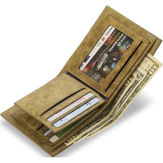 08cd478ba239c ... NOWOCZESNY PORTFEL MĘSKI MŁODZIEŻOWY - BRĄZOWY world-style-pl zielony  miejsce na karty kredytowe ...