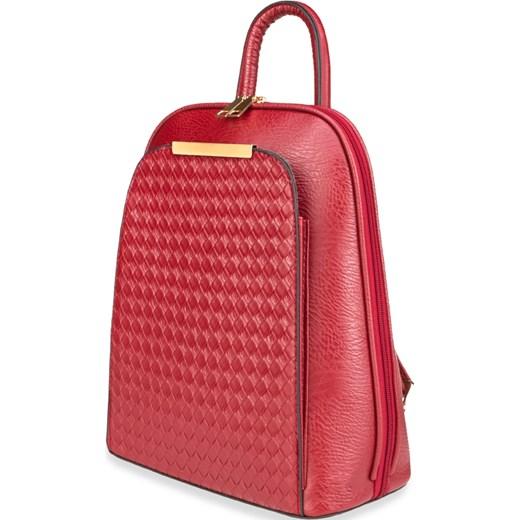 4070ff031089a ... Elegancki plecak damski usztywniany pleciony panel – czarny czerwony  world-style.pl ...