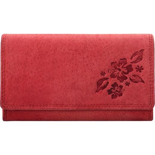 2a29dd4120a88 Skórzany nubuckowy portfel damski tłoczony czerwony Always Wild  world-style.pl ...