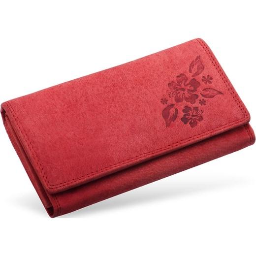 df1018b548274 Skórzany nubuckowy portfel damski tłoczony Always Wild czerwony world -style.pl