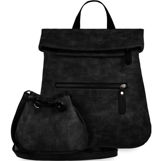 ee8fc7bfce13a Zestaw 2w1 plecak damski + mini torebka sakwa – czarny czarny  world-style.pl ...