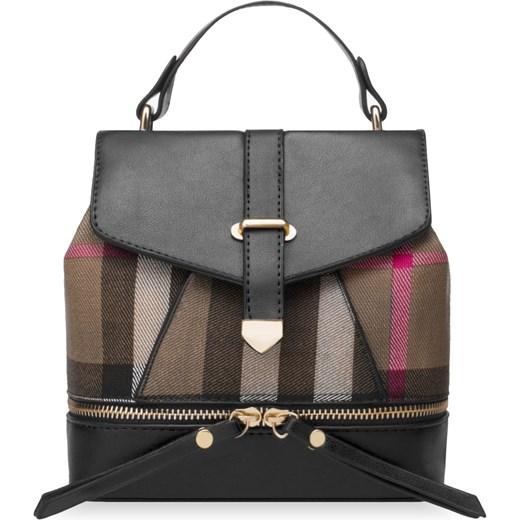 19f8151790843 Mały plecak damski z klapą stylowy plecaczek w kratę – czarny bialy  world-style.