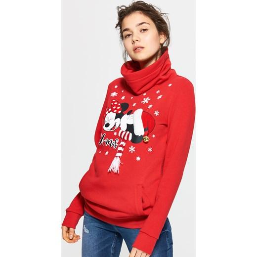 Wspaniały Cropp - Bluza z świąteczną myszką mickey Czerwony w Domodi ZZ21