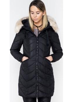 Włoski pikowany płaszczyk z futerkiem PREMIUM czarny  czarny Lagattini.pl - kod rabatowy