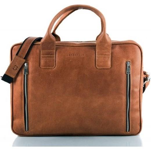 ce071b9c332cc ... Skórzana jasno brązowa torba męska na ramię. Miejsce na Laptop Brødrene  brazowy merg.pl ...