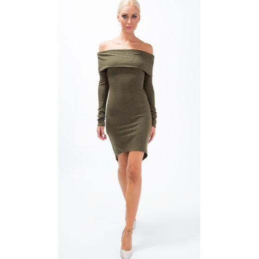 d78ce14564 ... Sukienka z dzianiny i odkrytymi ramionami khaki 1542 fasardi S fasardi.com  ...